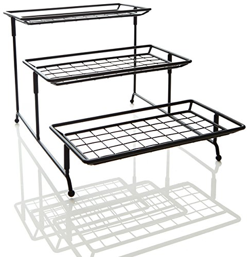 iEnjoyware 3-Tiered Mesh Swivel Serving Rack – Displaying or Storing Cakes, Bread, Desserts, Drinks, Cupcakes, Fruits or Produces on Kitchen Countertop or Dinning Tables