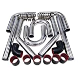 Universal 3 Inch 76mm Turbo Intercooler Aluminum Pipe Piping w/ Black Red Silicone Hose Kit