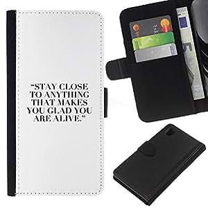 KingStore / Leather Etui en cuir / Sony Xperia Z1 L39 / Hobby cita de motivación inspiradora Blanca