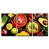 wall26 3 Piece Canvas Wall Art - Mexican Food: Tortilla Chips, Guacamole, Salsa, Tequila Shots - Home Decor Stretched and Framed Ready to Hang - 16''x24'' in