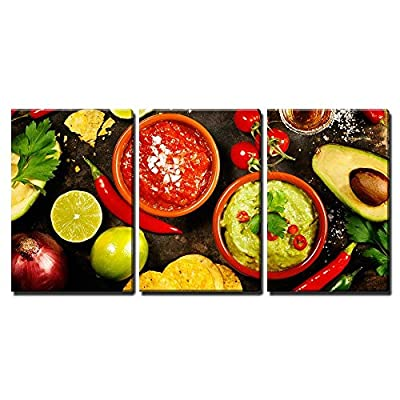 3 Piece Canvas Wall Art - Mexican Food: Tortilla Chips, Guacamole, Salsa, Tequila Shots - Home Art Stretched and Framed Ready to Hang - 16