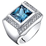 Mens 5 Carats London Blue Topaz Ring Sterling Silver Princess Cut Size 10