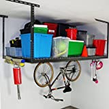 SafeRacks (2) 4x8 Overhead Garage Storage Racks Heavy Duty (12''-22'' Ceiling Drop) - Hammertone - Value Combo - Includes 18 Piece Accessory Hooks