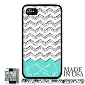 Live the Life You Love Infinity Quote (Not Actual Glitter) - Mint White Chevron Pattern iPhone 5 5S Case - BLACK RUBBER by Unique Design Gifts
