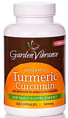 Jardin Vibrance curcumine organique Extrait 95% (De curcuma), 500 mg, 120 gélules Veg avec Bioperine - Meilleur Curcuma
