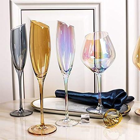 Copas de vino 2 PCS Distinguished Art 200-600ml Oblique Cut Cubier Barra de la familia Barra de arco iris Color Smoky Grey Amber Red Wine Cup Champagne Wine Webware Copa de vino ( Color : Dark Gray )