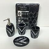 Popular Bath 5 Piece Sinatra Black Sequin Shower Curtain and Resin Bath Accessory Set