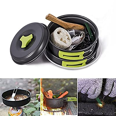 HUKOER Camping Cookware Mess Kit Backpacking Gear & Hiking Outdoors Campfire Cookware Cooking Utensils Ultralight 14 Pieces Cooking set Compact& Durable Pot Pan Bowls - Free Folding Spork, Nylon Bag