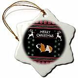 3dRose Guinea Pig Animal with Christmas Xmas Celebration Snowflake Ornament, 3''