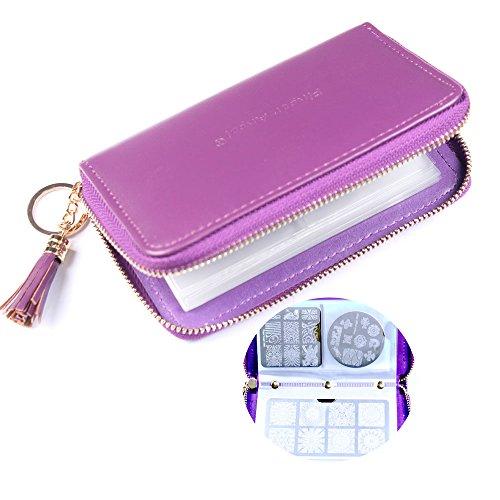 FingerAngel 24 Slots Nail Stamping Plate Holder Case Round Square Rectangular Nail Art Stamp Plate Organizer Purple Color Stamping Ablum