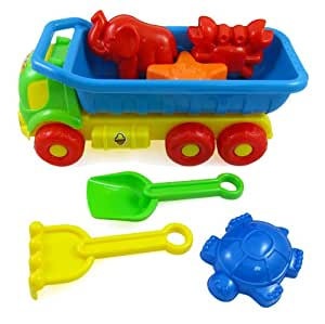 Beach Toys Deluxe Playset for Kids - 7 pieces Large Dump Truck Sand Shovel Set (Assorted Colors)