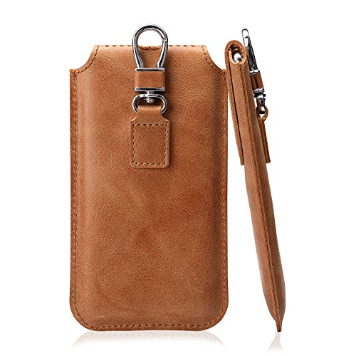 - iPhone X Belt Case Leather Genuine, iPhone 10 Sleeve with Keychain Clip Carrying Holster TOOVREN Protective Ultra Thin Pouch for Apple iPhone X 5.8'' 2017 Brown