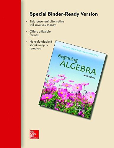 Loose Leaf for Beginning Algebra (Hutchison Series in Mathematics)