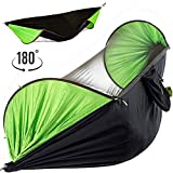 TAPINSTEP New 2019 Hammock with Mosquito Net Camping Backpacking Bug Single Double Person Outdoor Portable Hammocks Tree and Netting Parachute Jungle Hammock (Green, 250x120cm)