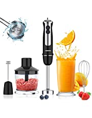 Hand Blender, 800w Powerful 5-in-1 Immersion Stick Blender 12-Speed Electric Handheld Blender Set with 500ml Chopper, 600ml Container, Milk Frother, Egg Whisk