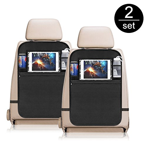 Waterproof Car Back Cover Organizer,Creatiecase Car Back seat Protector with Touch-Screen Viewing Window,Auto Kick Mats With Multi-Storage Pocket for Baby Travel Accessories¨C2 Pack by Creative Case