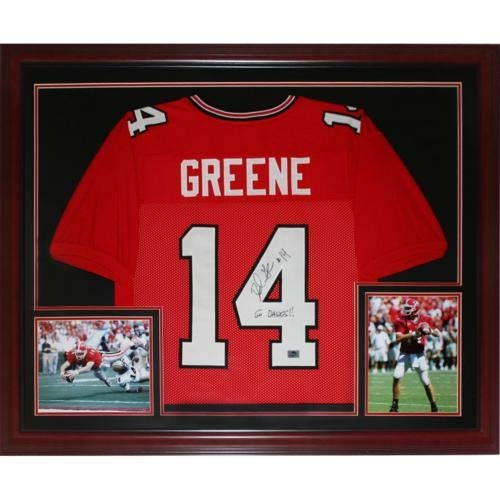 David Greene Autographed Signed Auto Georgia Bulldogs Red #14 Deluxe Framed Jersey - Certified ()