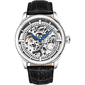 """Stuhrling Original Mens""""Specialty Winchester"""" Skeleton Automatic Self Winding Dress Watch with Premium Leather Band"""