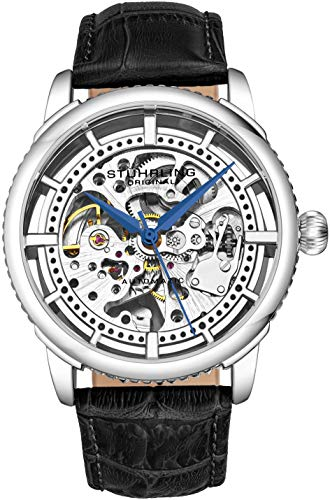 Stuhrling Original MensSpecialty Winchester Skeleton Automatic Self Winding Dress Watch with Premium Leather Band (Silver)