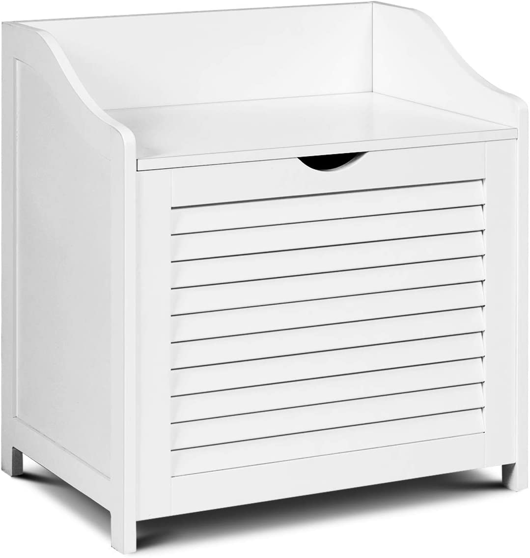 Tangkula Laundry Hamper Cabinet, Laundry Sorter Chest with Removable & Washable Cotton Liner, Laundry Collector with Lid & Louver Design, Single Load Laundry Basket Bag (White)