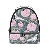 Double Deck Cooler Crane Birds Peony Flowers Lunch Box Insulated Lunch Bag Large Cooler Tote Bag