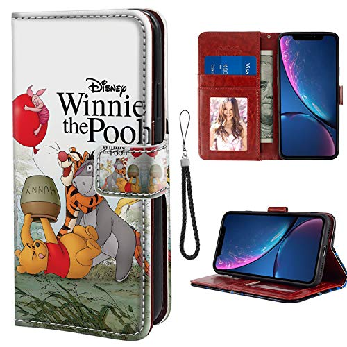 (DISNEY COLLECTION Wallet Leather Case Compatible with iPhone Xr Many Winnie The Pooh Adventures Credit Card Cash Slots Holder Shock Absorption All Sided Protective Classic Cartoon Cover)