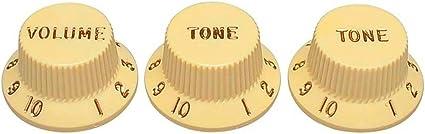 Vintage Aged White Strat Knob Set 1V2T Gold Letters 3 Spokes fits to Strat®