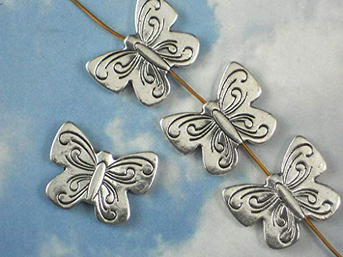 (5 Butterfly Beads Butterflies Silver Tone Hill Tribes Style Bead 22mm)
