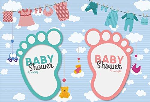 CSFOTO 8x6ft Background for Sweet Baby Shower Gender Reveal Party Photography Backdrop Twins Cartoon Cute Footprints Pregnancy Announcement Celebrate Newborn Photo Studio Props Vinyl Wallpaper