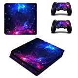 Decal Moments PS4 Slim Console Skin Set Vinyl Decal Sticker for Playstation 4 Slim Console Dualshock 2 Controllers-Purple Galaxy (PS4 Slim Only)