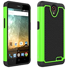 ZTE Maven 2 case, ZTE Prestige case, ZTE Sonata 3 case, CoverON® [HexaGuard Series] Slim Hybrid Hard Phone Cover Case For ZTE Maven 2/ Prestige/ Sonata 3 - Green Neon & Black