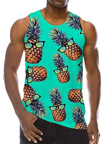 RAISEVERN Men's Tank Tops Workout Sleeveless Tee 3D Lifelike Cool Glasses Pineapple Printed Fitness Vest Athletic Training Undershirts