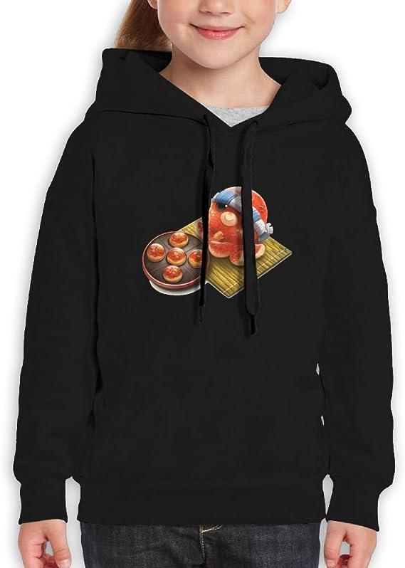 LENSITON Takoyaki Pattern Unisex Teenager Hoodies With Cap For Boys and Girls Pullover Sweatshirts