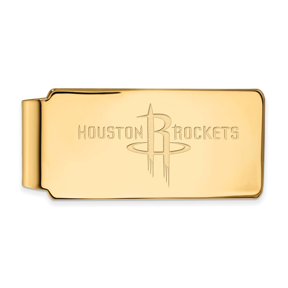 NBA Houston Rockets Money Clip in 18k Yellow Gold Flashed Silver