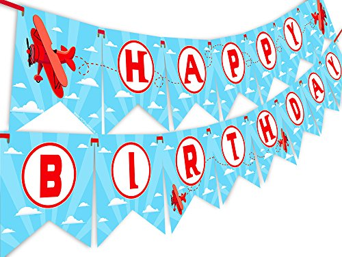 Red Airplane Happy Birthday Banner Pennant - Airplane Party Decoration - Up Up and Away -