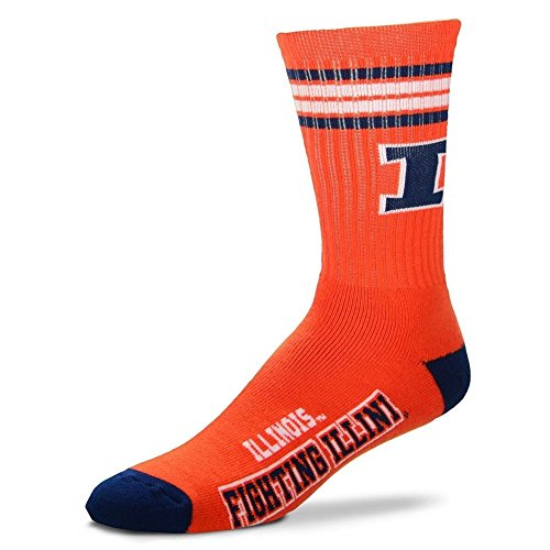 Acrylic Fighting Illini Football (For Bare Feet NCAA 4 Stripe Deuce Crew Men Socks (Illinois Fighting Illini, Medium (5-10)))