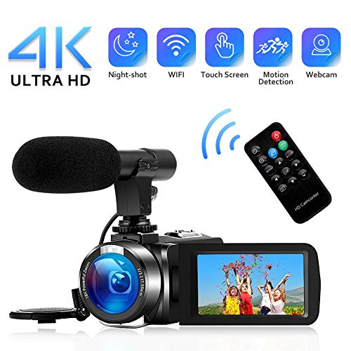 4K Camcorder Digital Video Camera WiFi Vlogging Camera Camcorders with Microphone Full HD 1080P 30FPS 3' HD Touch Screen Vlog Camera for YouTube with IR Night Vision and Remote Control
