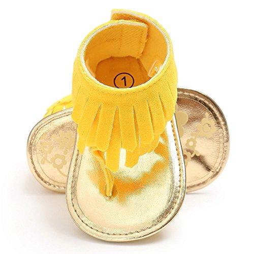 Zapatos de bebé, Switchali Recién nacido bebe niña verano Niños Cuna Suela blanda Antideslizante Sandalias Zapatillas niñas vestir floral borla casual moda Calzado Amarillo (A)