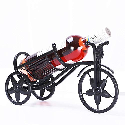 YAH Bicycle Metal Wine Rack Free Standing Bike Countertop Storage Holders Decorative Tabletop Bottle Holders Wrought Iron Plated Black