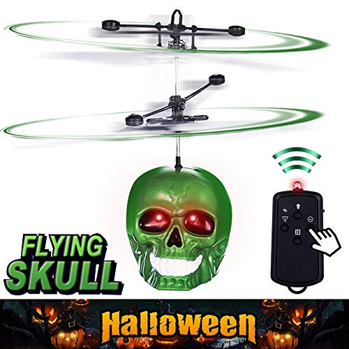 PALA PERRA Mini RC Helicopter Flying Toys, Hand Remote Control Skull Flying Toys with Remote Control & Screaming Sound, Rechargeable Infrared Induction Indoor Drone for Kids, Teens, Adults