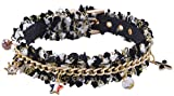 Designer Puppy Collar with Bling Charm for Small Breed Dog Black