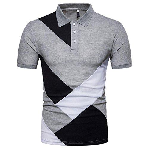 kaifongfu Men's Top,Clearance Sale Mens Slim Fit T-Shirt Top Patchwork Short Sleeve T Shirt Blouse(Gray,XXL)