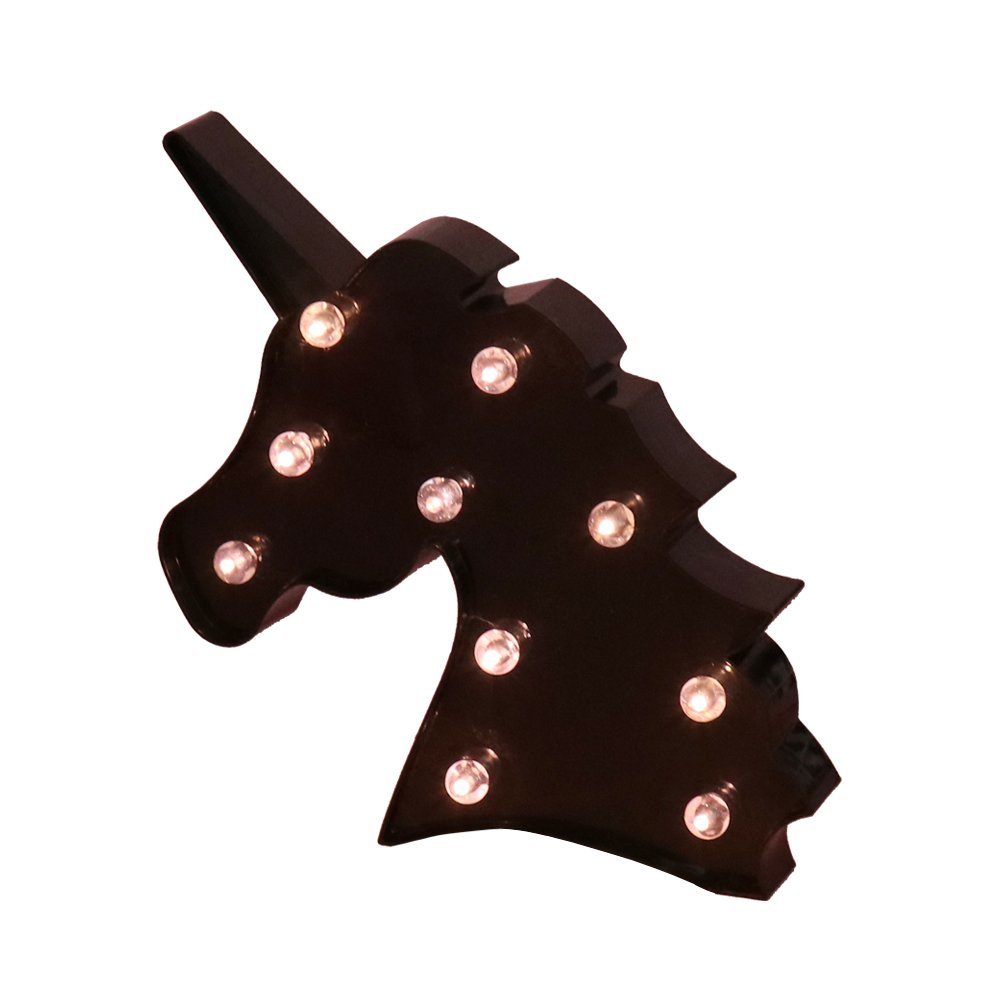 LED Night Light Lamp Kids Marquee Letter Lights Unicorn shape Signs Light Up Christmas Party Wall Decoration For Room (Black Unciorn Head)