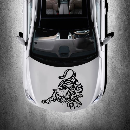 [Vinyl Decals for Car Hood Animal Tribal Wild Tiger Tattoo Patterns Wildcat Sticker Art Any Vehicle Window Graphics Mural] (Vinyl Cat Hood)