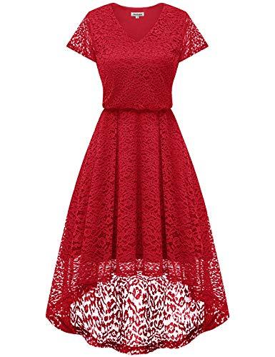 Vestido Vestido de Hi Mujeres de Coctel Elegante Vestido Noche Encaje Bbonlinedress de Encaje Mujer Fiesta para Honor Dama Floral Rojo lo ngW6YEnAPq
