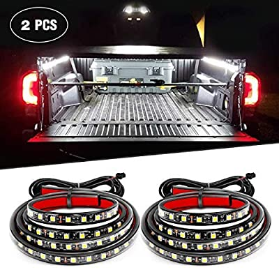 """Nilight TR-05 60"""" 2PCS 60'' 180 LEDs Bed Strip Kit with Waterproof on/Off Switch Blade Fuse 2-Way Splitter Extension Cable for Cargo, Pickup Truck, SUV, RV, Boat (White Light)"""