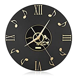 CIGERA 12 Inch Musical Note Wall Clock with Vinyl CD Dial Plate and 3D Roman Numerals,Great for Home Decor and Perfect Gifts for Music Lovers