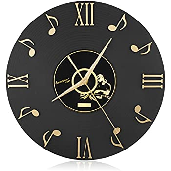Lovely CIGERA 12 Inch Musical Note Wall Clock With Vinyl CD Dial Plate And 3D  Roman Numerals,Great For Home Decor And Perfect Gifts For Music Lovers