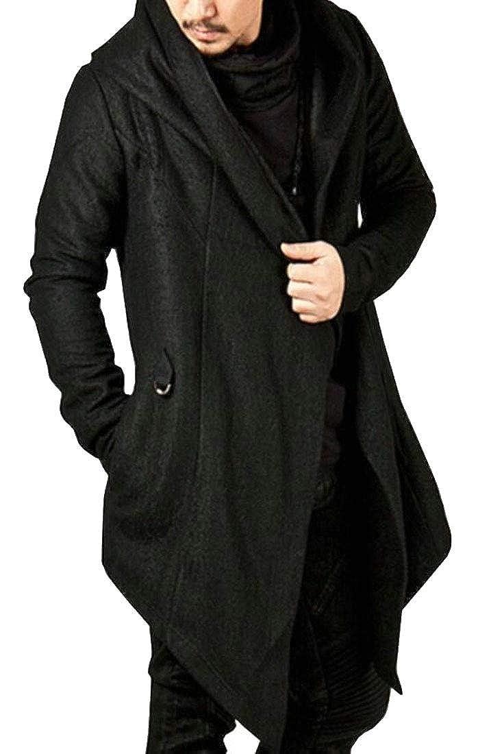 ouxiuli Mens Long Sleeve Draped Lightweight Open Front Hooded Cardigan Outwear