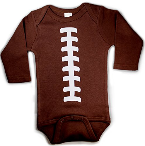 Baby Football One Piece Bodysuit Outfit Brown Unisex LONG SLEEVE (6-12 months (Baby Costume Football Player)